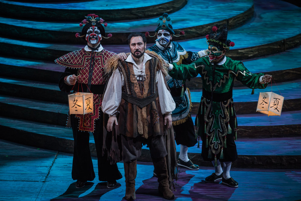 Zachary Nelson, Stefano La Colla, Keith Jameson, and Rodell Rosel in TURANDOT at Lyric Opera. Photo by Andrew Cioffi