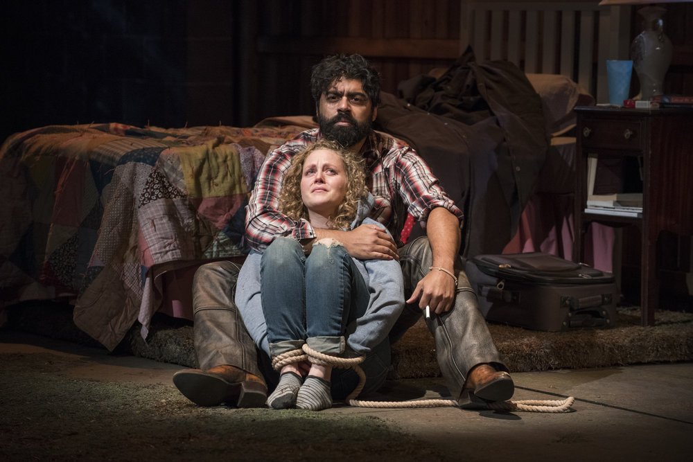 Pictured (L to R) Ensemble member Caroline Neff (Mae) and Gabriel Ruiz (Cowboy) in Steppenwolf's Chicago premiere production of You Got Older by Clare Barron, directed by Jonathan Berry.