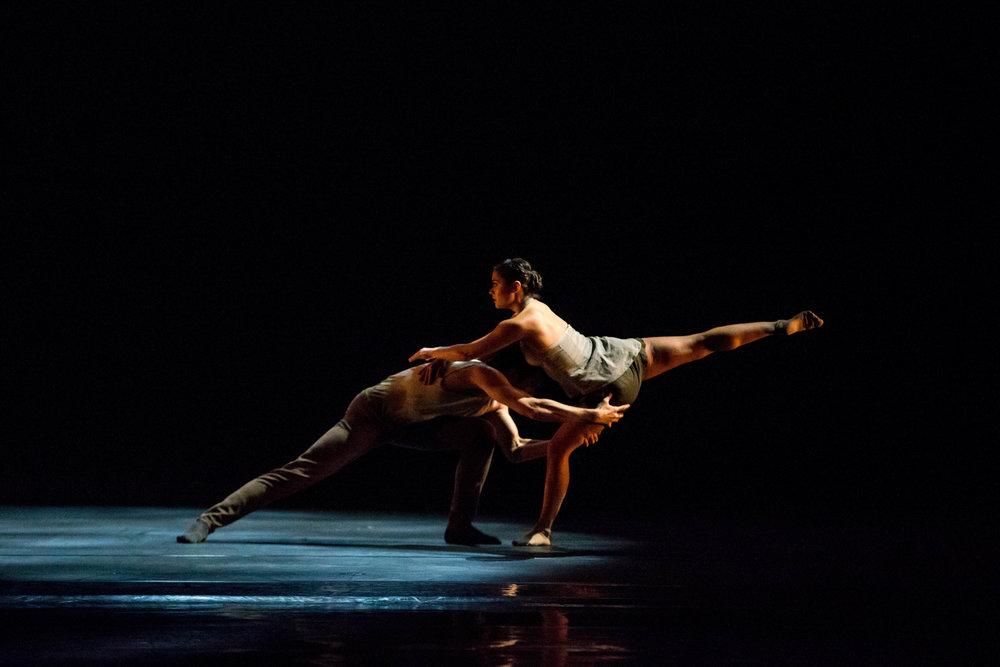 Hubbard Street Dancers Craig D. Black Jr. and Alicia Delgadillo in Alejandro Cerrudo's Silent Ghost. Photo by Cheryl Mann.