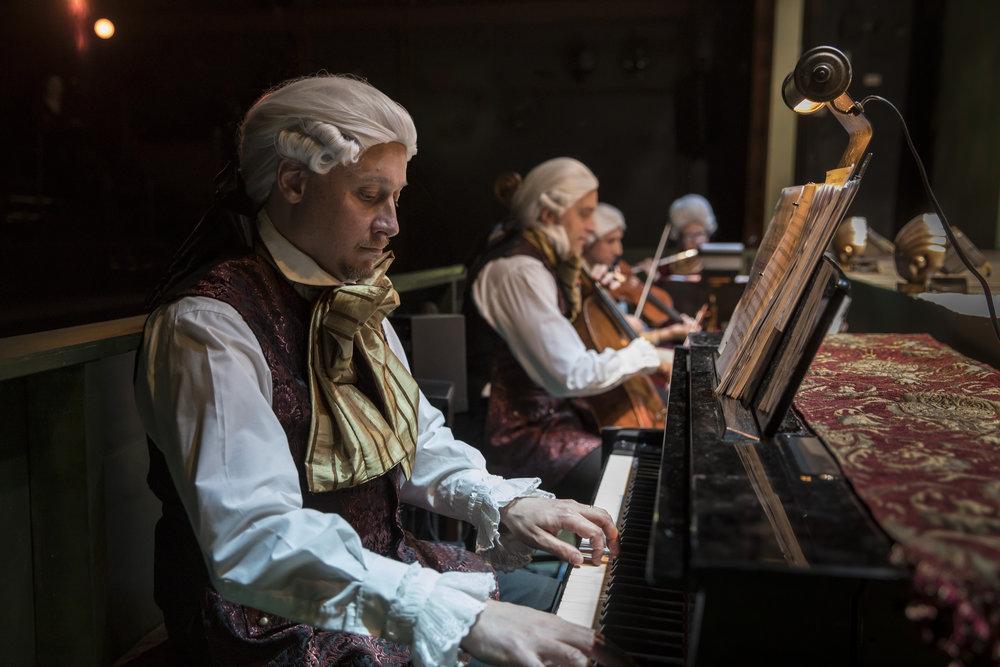 Musicians Leandro López Várady (piano), Michal Palzewicz (cello), Greg Hirte (violin), and Constance Volk (flute). Photo by Liz Lauren.