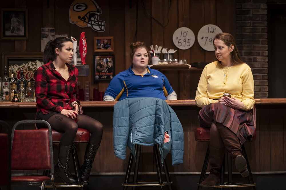 Hayley Burgess (Clarice), Mary Taylor (Brielle) and Anne Thompson (Sharlene) in the world premiere of Twilight Bowl by Rebecca Gilman, directed by Erica Weiss (February 8 – March 10, 2019).
