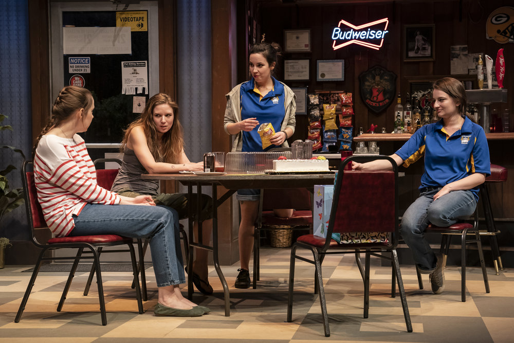 Anne Thompson (Sharlene), Heather Chrisler (Jaycee), Hayley Burgess (Clarice) and Becca Savoy (Sam) in the world premiere of Twilight Bowl by Rebecca Gilman, directed by Erica Weiss.