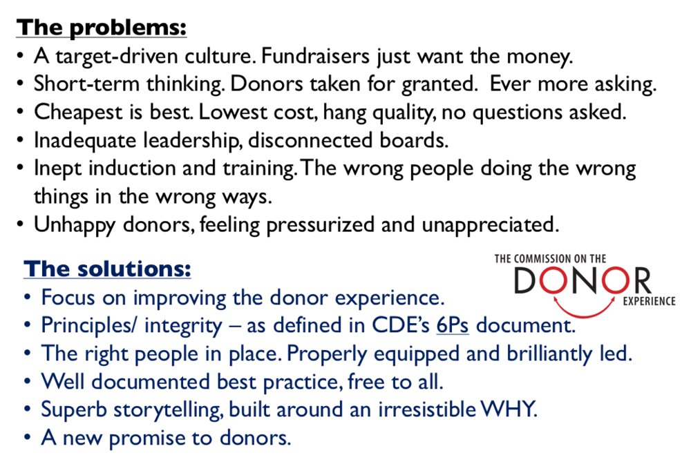 Somewhat simplified, a summary of the problems and solutions suggested by the Commission on the Donor Experience.