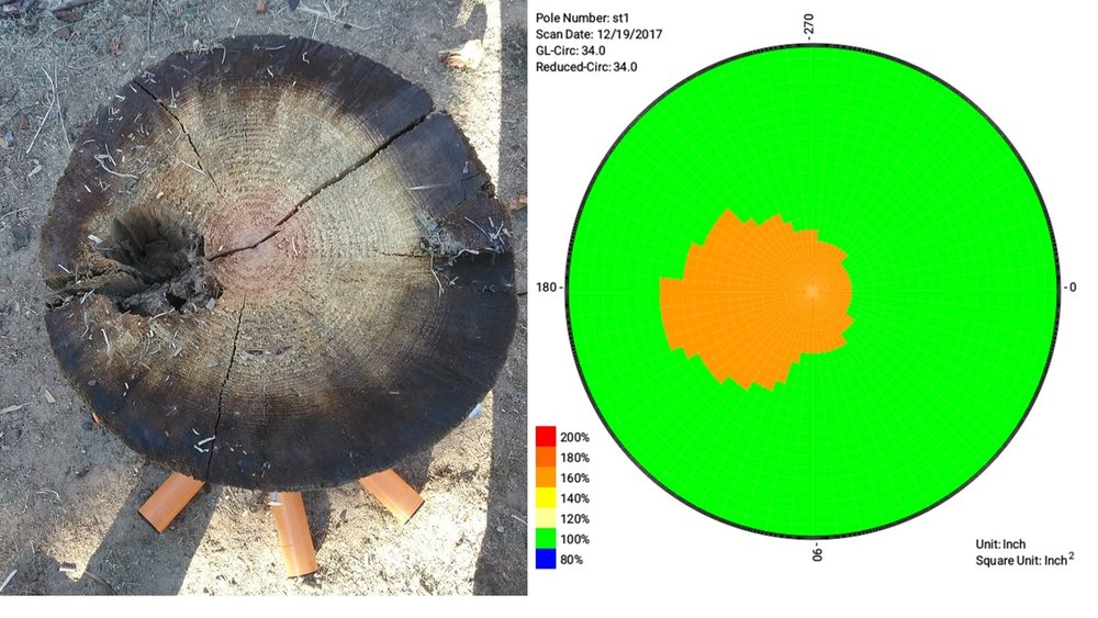Ultrasonic tomography testing gives the same pass/fail result as a normal inspection, but also shows a detailed map of the pole, outlining faulty areas where rot or defects are occurring.