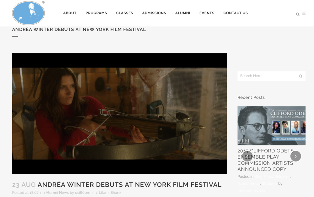 LEE STRASBERG - ANDRÉA WINTER DEBUTS AT NEW YORK FILM FESTIVAL