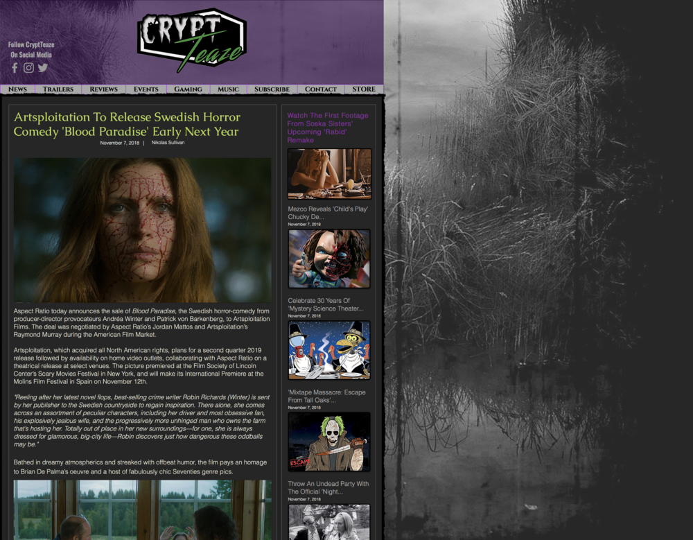 CRYPT TEASE - Aspect Ratio today announces the sale of Blood Paradise, the Swedish horror-comedy from producer-director provocateurs Andréa Winter and Patrick von Barkenberg, to Artsploitation Films. The deal was negotiated by Aspect Ratio's Jordan Mattos and Artsploitation's Raymond Murray during the American Film Market.