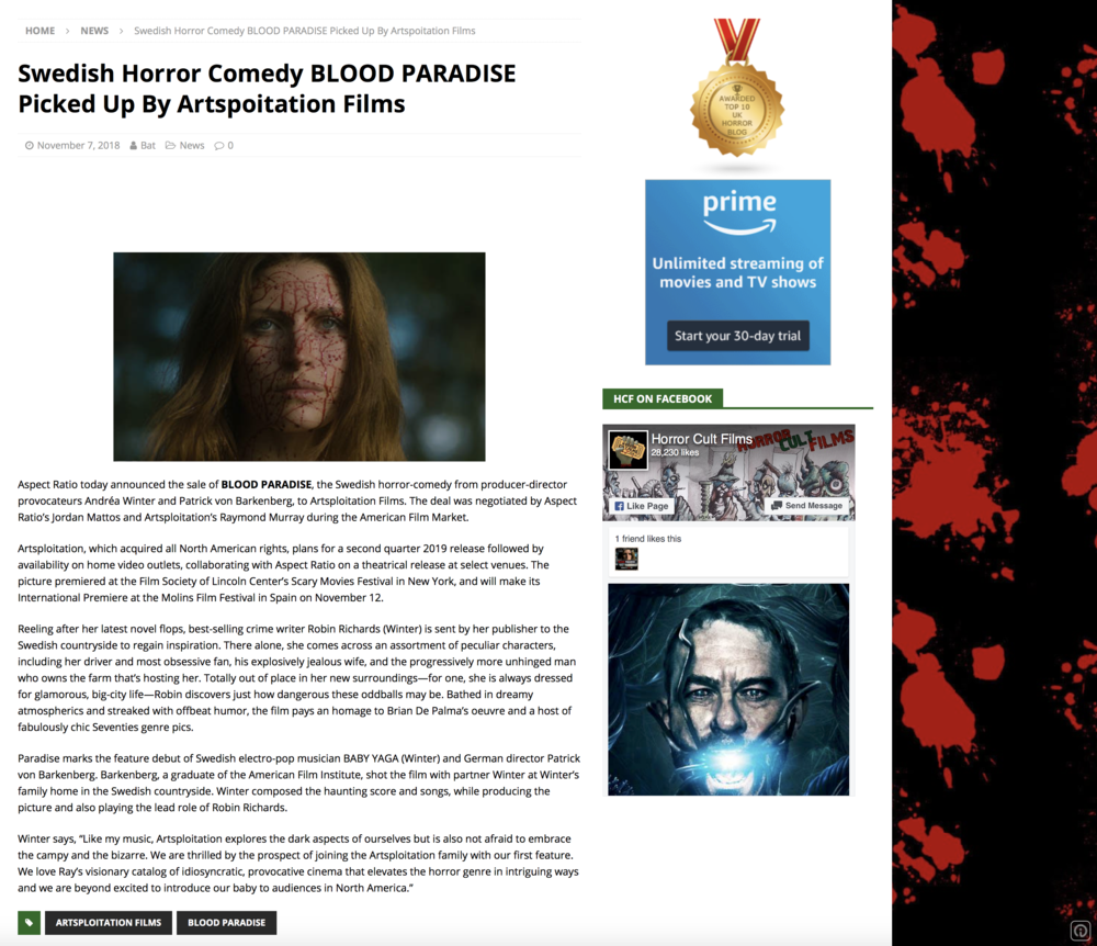 HORROR CULT FILMS UK - Aspect Ratio today announced the sale of BLOOD PARADISE, the Swedish horror-comedy from producer-director provocateurs Andréa Winter and Patrick von Barkenberg, to Artsploitation Films. The deal was negotiated by Aspect Ratio's Jordan Mattos and Artsploitation's Raymond Murray during the American Film Market.