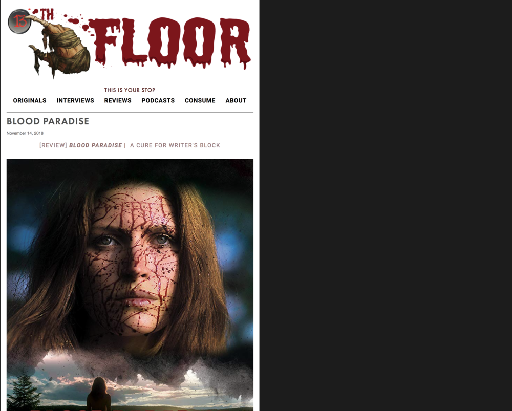 13th Floor - Now here's a film that knows how to have a good time. From its opening act to its closing moments, Blood Paradise somehow manages to stay both tightly wound, and loose as a goose. Kudos to Director Patrick Von Barkenberg who pulls off a darkly comedic balancing act.