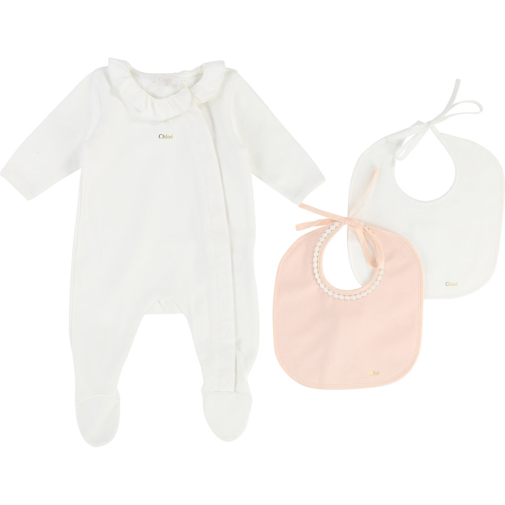 PAJAMA + BIB SET / Baby girl 1 month to 12 months