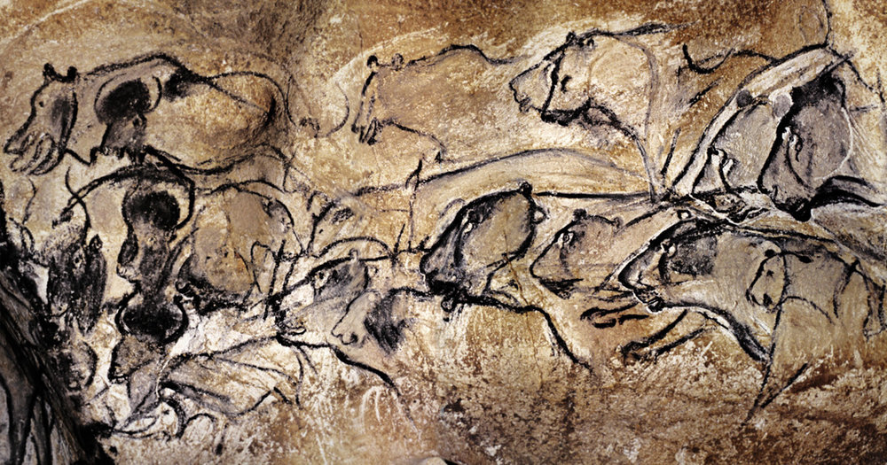 Chauvet Cave, France          lion panel            painting more than 30,000 years old