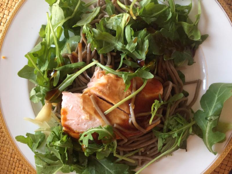 Salmon, baby arugula and soba noodles