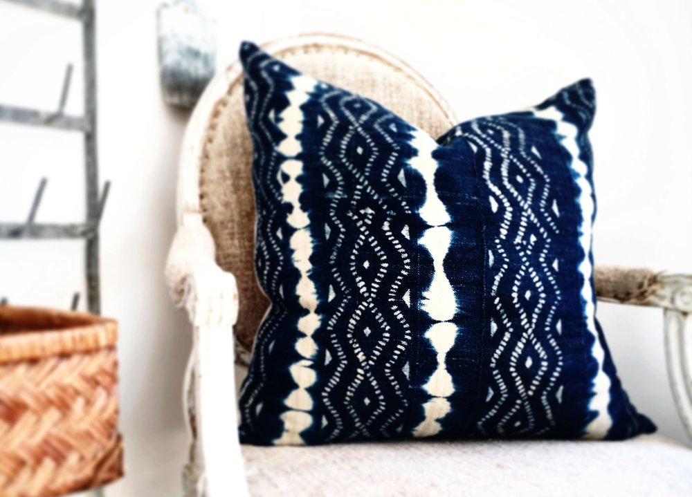 Hattie Rose - French Chair with African Indigo Pillow