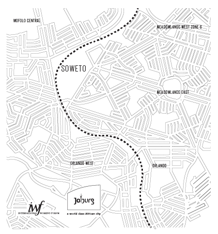 - Following the basic trace the lines were then converted to a cleaner stylized map. The thick black line on the Johannesburg side are its iconic highways and the dashed line on the Soweto side is the train track that runs through the city. They are of the same weight to create a similar visual impact on both sides of the bag