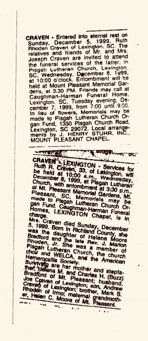 Obituary notices of Ruth's death that ran in local newspapers.