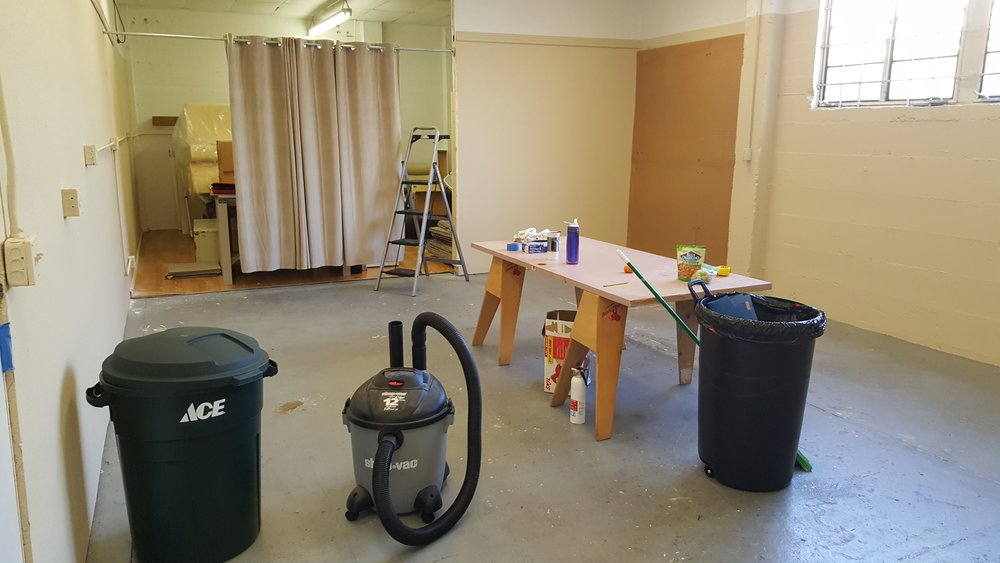 View from the doorway towards storage area.