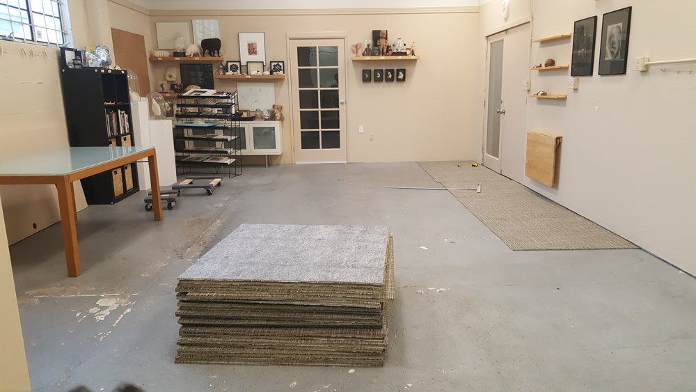 Carpet tiles turn out to be pretty easy to install...