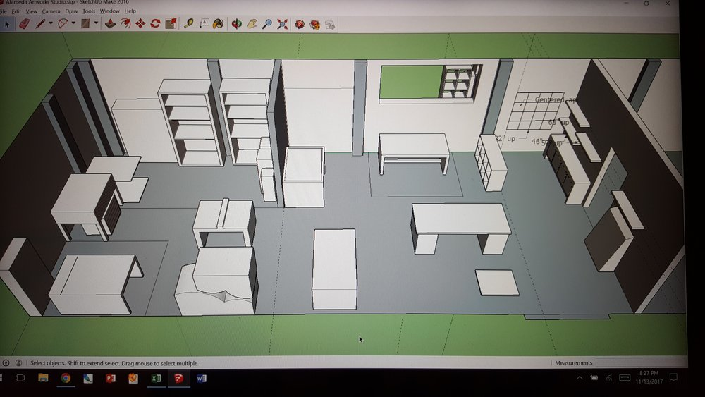 Google SketchUp rendering of my space, sort of.