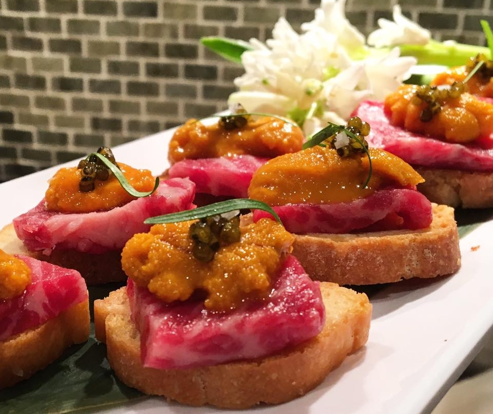 Wagyu Beef, Uni, Beluga Caviar Crostini