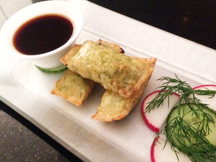 Veggie Wontons w/ sake-ginger soy sauce