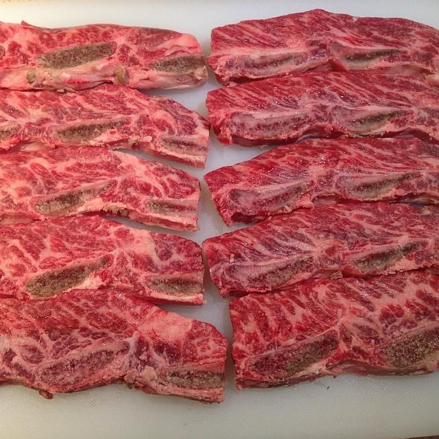 Raw Kalbi (beef short ribs)