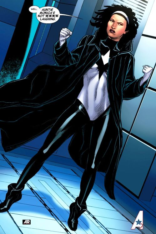 Pulsar - Monica Rambeau is one of the most powerful characters ever created in comics.  A former police Lieutenant with the New Orleans Harbor patrol an act of bravery granted her power to change her body into any form of the electromagnetic spectrum.  Who needs bluetooth or an Echo Dot when you can become radio waves, electricity, x-rays or travel at the speed of light?  Her name has changed several times throughout the years and so has her hair style, but rather it was her original crown afro or her current dreadlocks, Pulsar is as natural as she is powerful!
