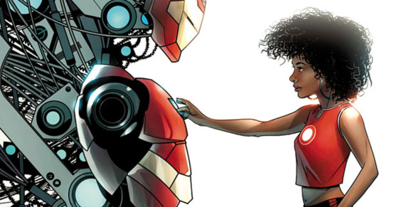 Ironheart - Testing at the level of super genius at the age of 5,  Riri Williams grew up in Chicago with her mother and step-father.  After a tragic drive-by shooting took the lives of some of her closets loved ones at the age of 15 she decided to build her own suit of armor to fight and defend her community and the world.  With a digital Tony Stark as her A.i. and mentor she is soaring to new heights as one of Marvel's newest super heroes: the Invincible Ironheart!  When not wearing an armored helmet she lets her beautiful natural locks down.