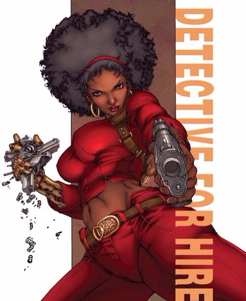 "Misty Knight - You may have recently been introduced to Mercedes ""Misty"" Knight as the butt-kicking detective in Marvel's Luke Cage and Defenders series on Netflix.  She first debuted in 1972 and is known for her bionic right arm (she lost her original in an act of heroism) and her afro. Whether as a Hero for Hire, Daughter of the Dragon or Defender you can count on Misty to bring a bionic beat-down while rocking her natural afro!"