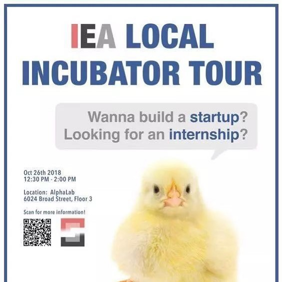 Have you... Ever wanted to build a startup but don't know where to begin?  Ever got an idea that you hope people will invest in? Ever had the thought of joining a startup?  If so, join us at our AlphaLab Incubator tour this Friday Oct 26th!  Spots are limited so hurry up and sign up at https://goo.gl/forms/mPEemgGg48TBZt592  #cmuiea #incubator #tour #investment #startup #startups #internship #alphalab  Learn more about the event and many more by scanning the available QR code or following cmu-summit on WeChat.