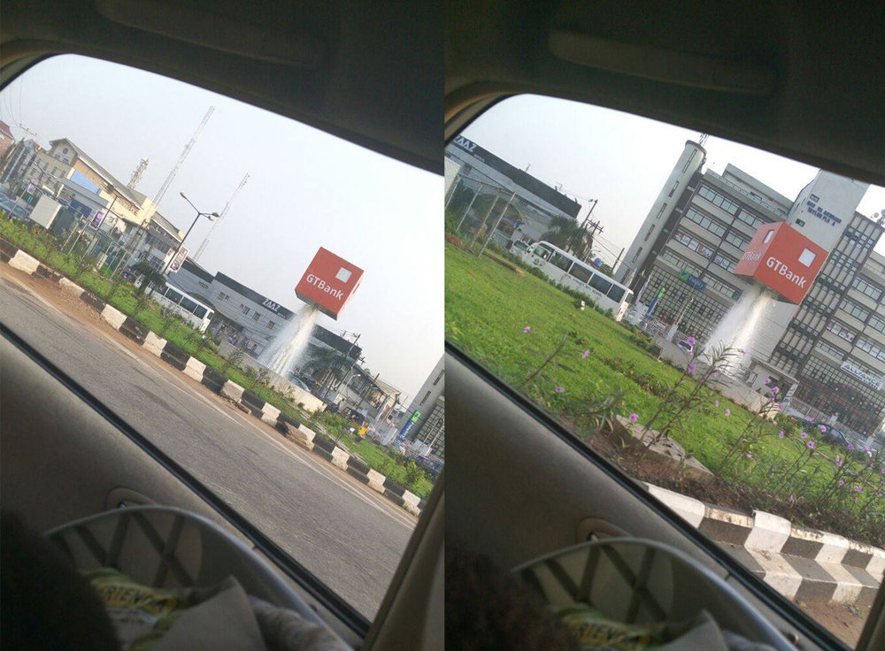 Gtbank's cube fountain at Opebi Round About