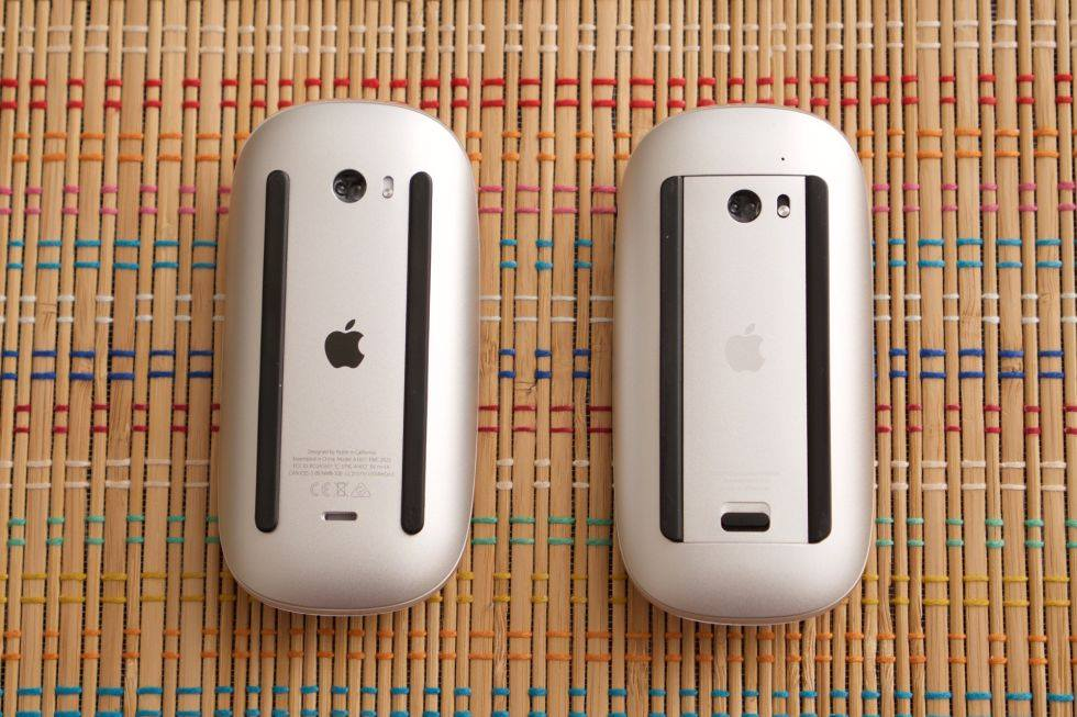 The new magic mouse (left) and the old magic mouse (right)