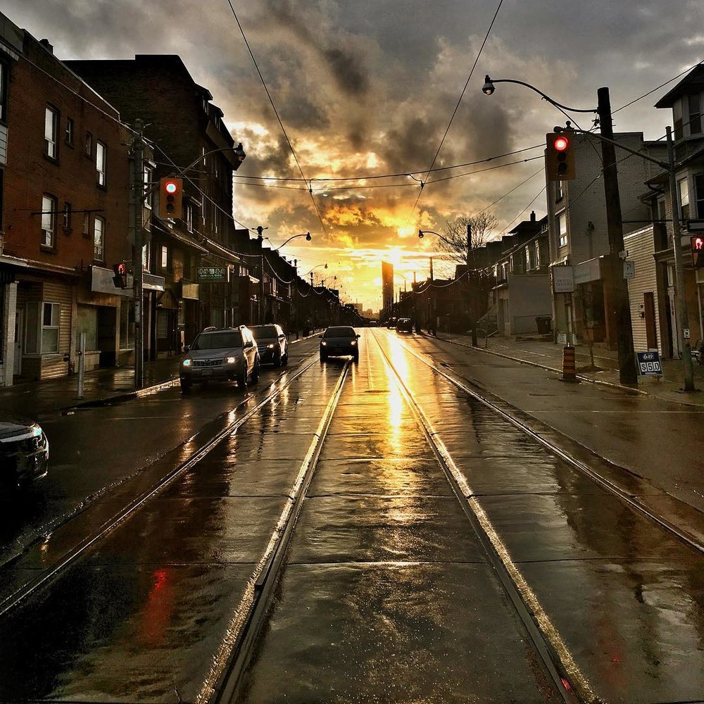 Gerrard East at Logan looking downtown. Photo by  @  virgin_tucker