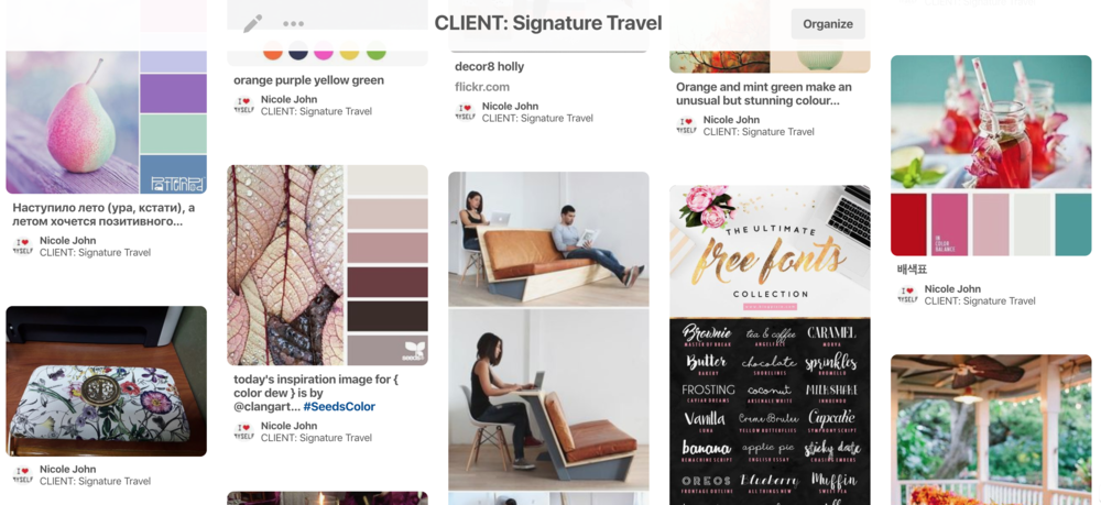 Inspiration Board Pinterest Signature Travel Brand Identity Branding Branding Queen