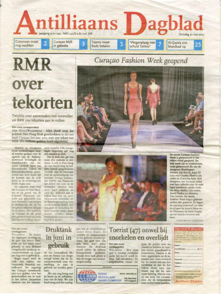 ANTILLIAANS DAGBLAD-CURACAO(MAY 2012)