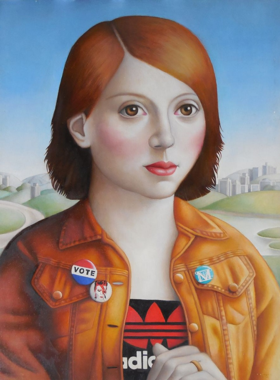 Young Woman in Orange Jean Jacket