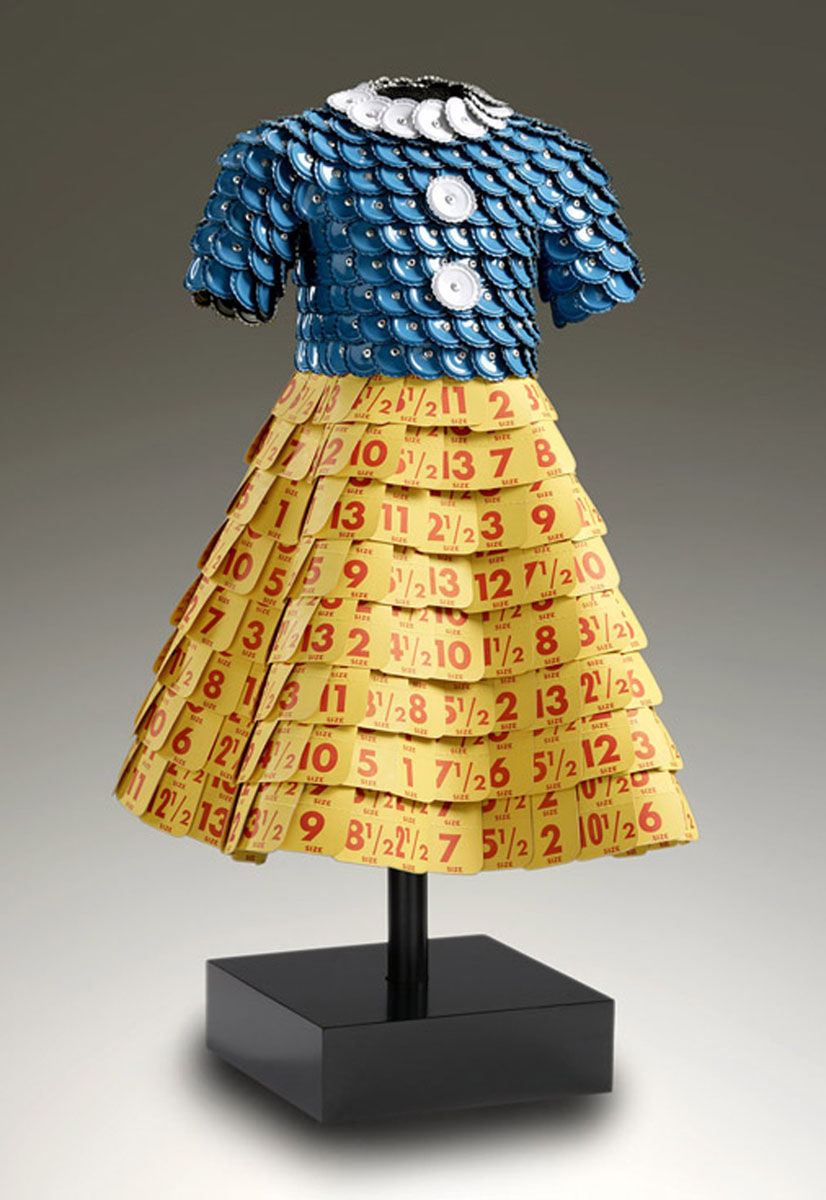 Lolita | Blue bottle cap bodice, vintage shoe tag skirt.jpg