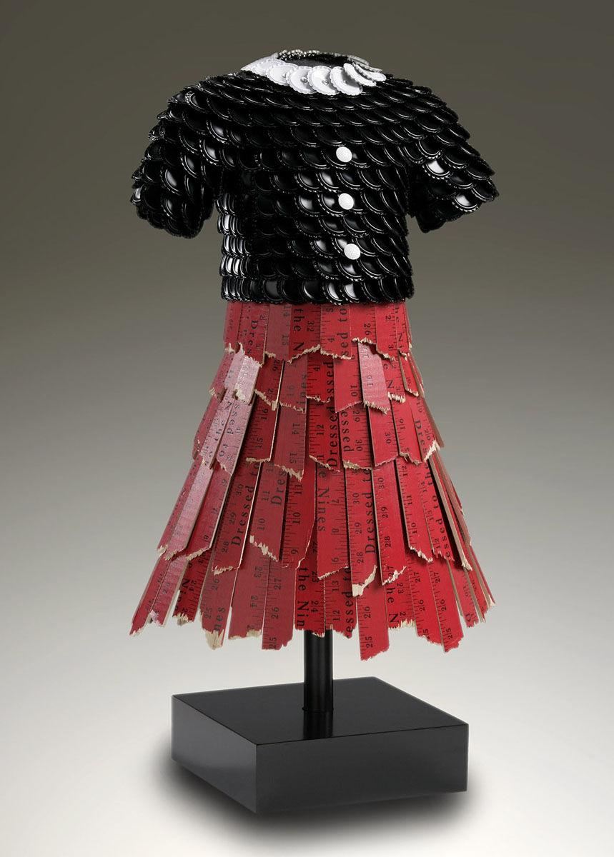 Wendy | Black and white bottle cap bodice, red yardstick skirt.jpg