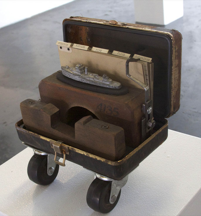 S. S. Innuendo | Tool Case, wood molds, file tabs, child's toy, typewriter parts, casters.jpg