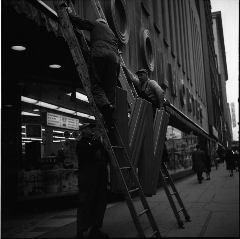 Untitled (Workmen with Woolworth Sign) 1968
