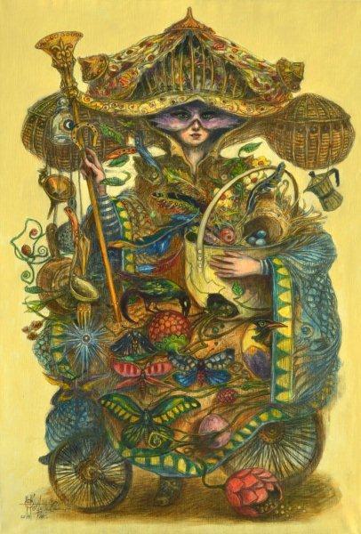 La vendedora  ambulante. 90 x 132 cm. Mixta sobre lienzo. 2013.