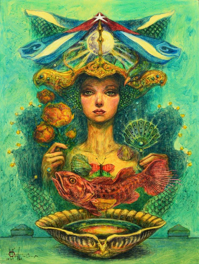 El sueño de la mujer del pescador. ( serie Sueños náufragos)Acrílico-lienzo. 100 x 73  cm. 2014