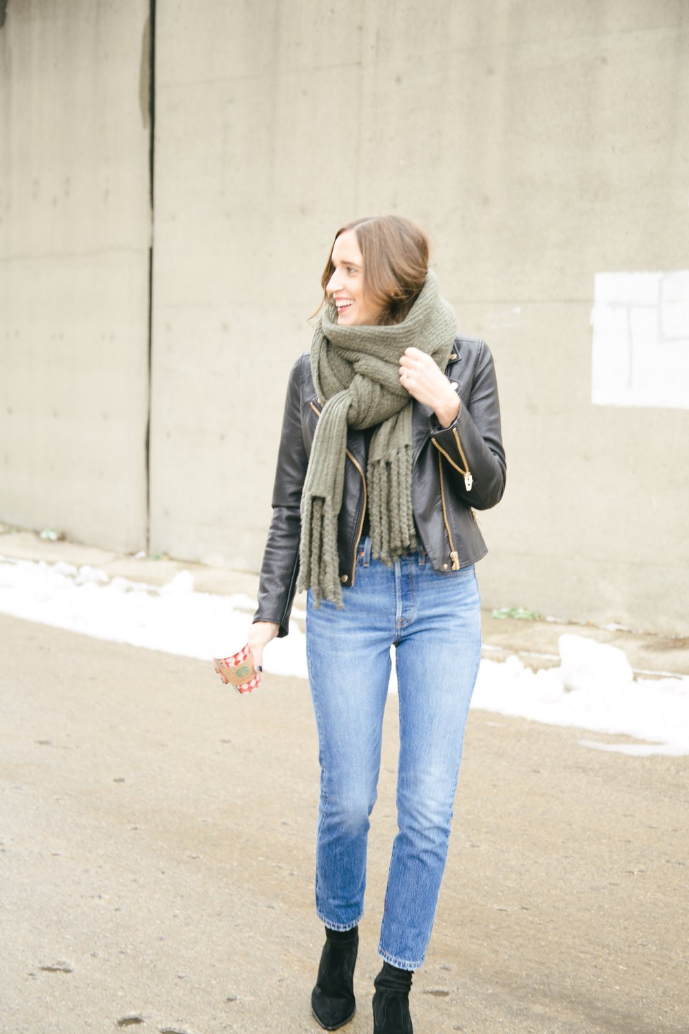 Leather Jacket ,   Similar Blanket Scarf ,  Jeans ,   Similar Sock Boots  Photos by Callie Ann Photography