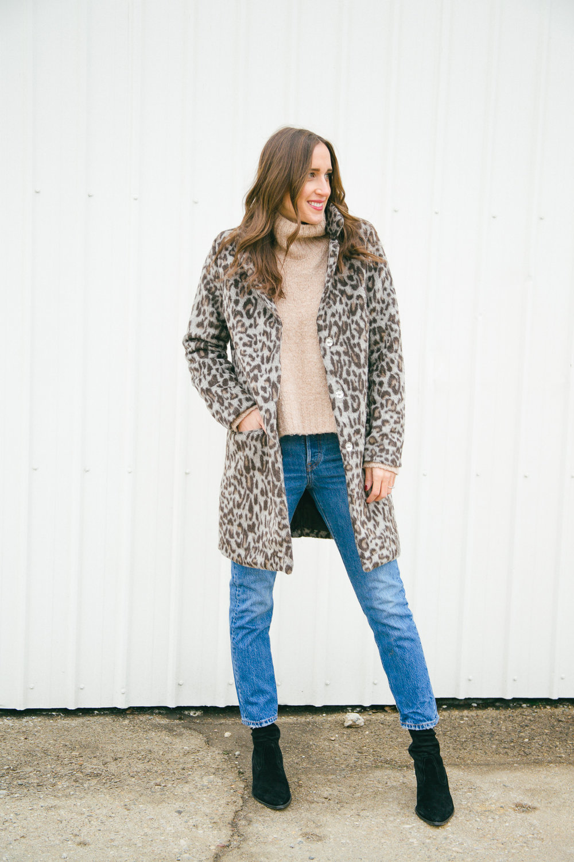 Similar sweater ,  Similar Leopard Coat ,  Jeans ,  Similar Booties ,  Similar Booties ,  Similar Booties