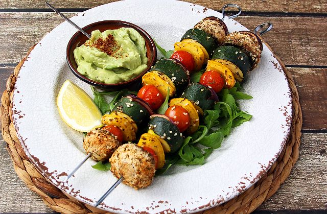 BBQ Veg Kebabs with Avocado Sauce