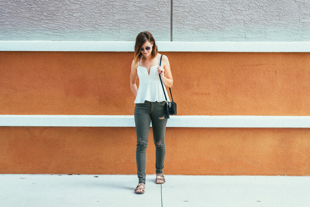Katelyn Now | Peplum Top | Destructed Denim