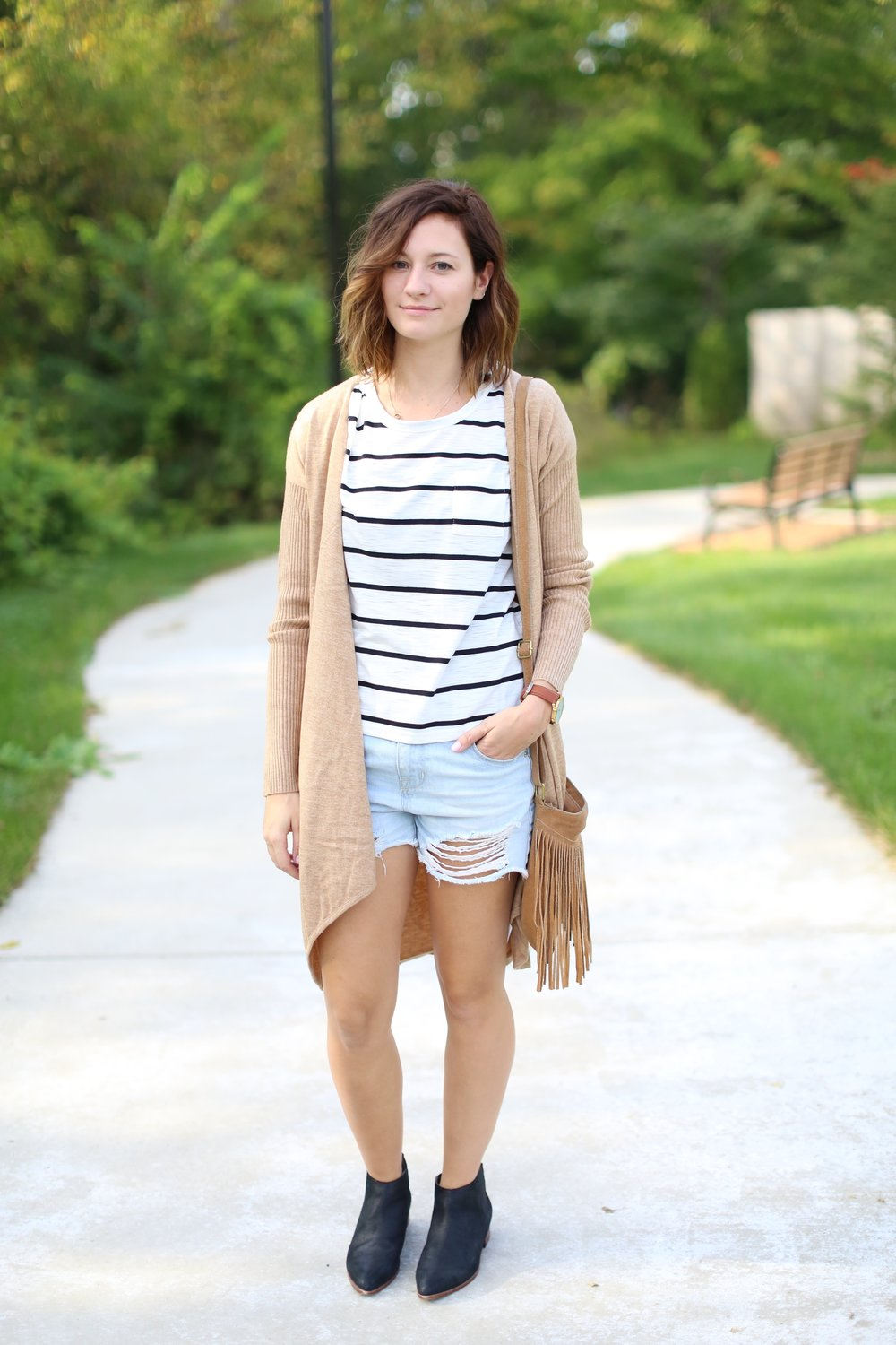 Black and White Stripes | Long Cardigan | Distressed Jeans | Katelyn Now