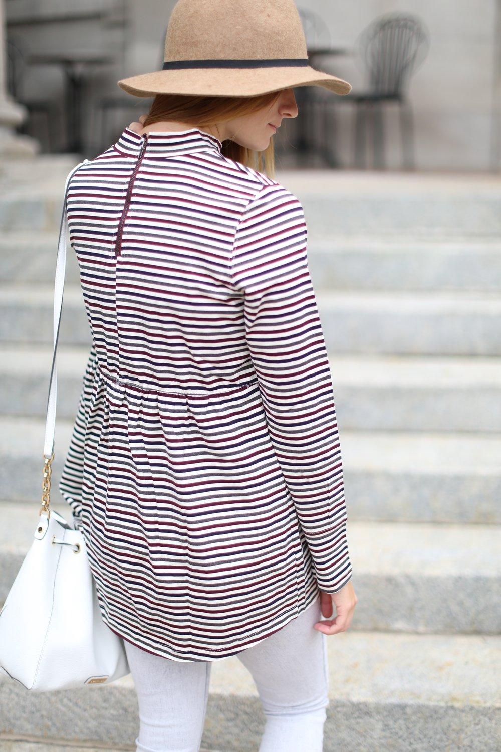 Striped Babydoll Top + Grey Jeans + Felt Hat | Katelyn Now