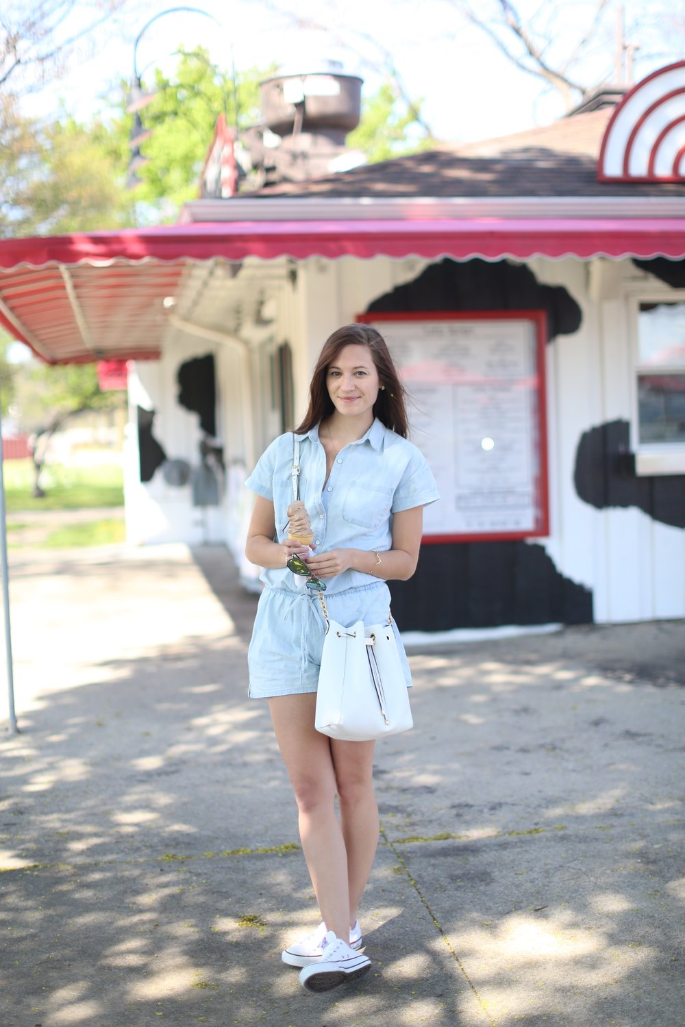 Chambray Romper | Katelyn Now