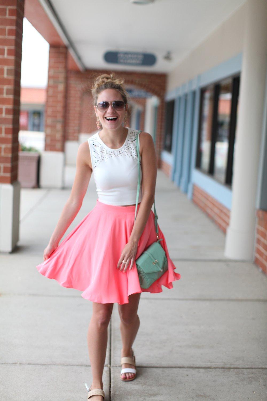 Pink Skirt + Crop Top