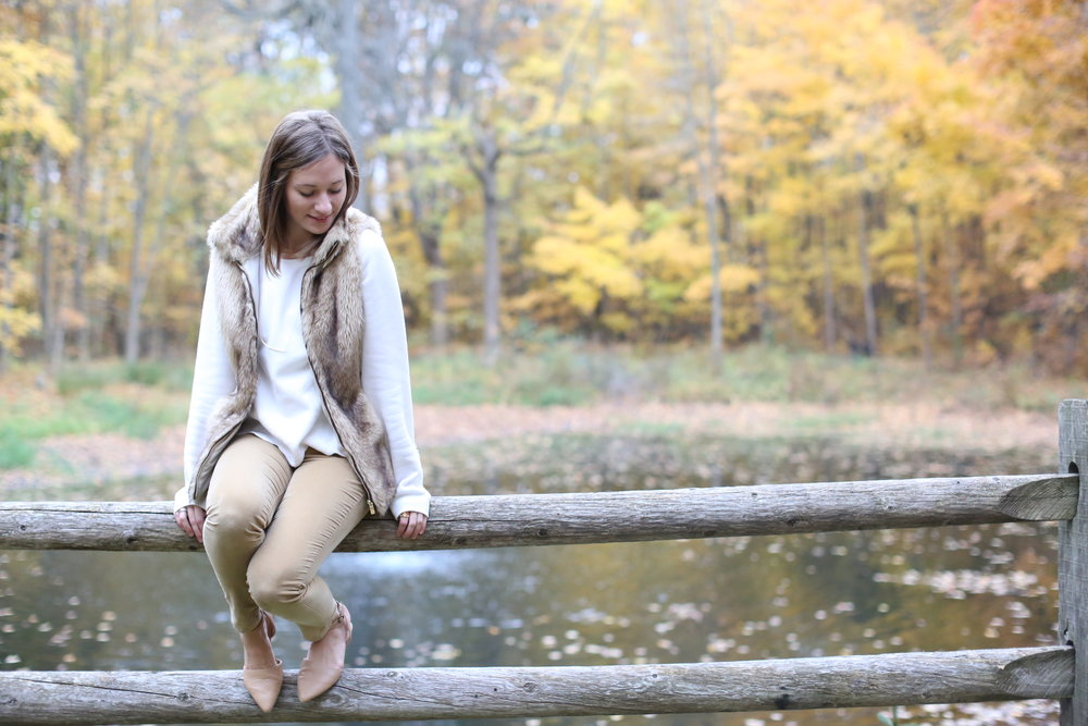 Neutral Outfit with Fur Vest | Katelyn Now
