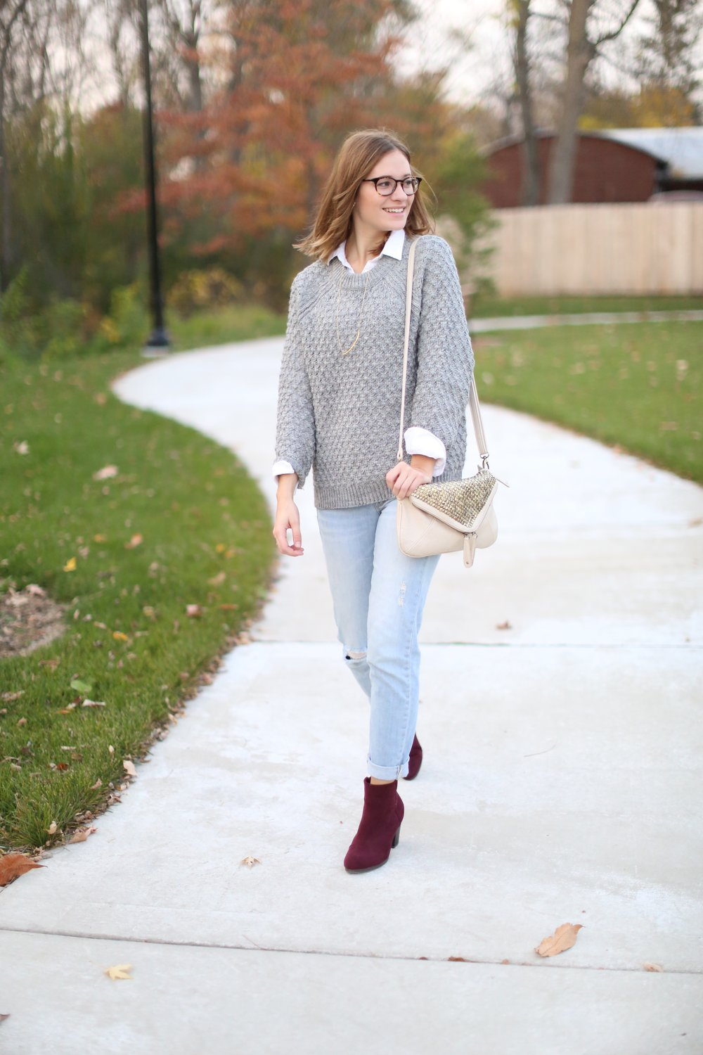 Grey Sweater + Burgundy Boots | Katelyn Now